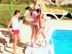 lesbian 7some at the pool with natasha shy