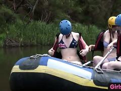 bushy amateur hotty fingered in rafting trio