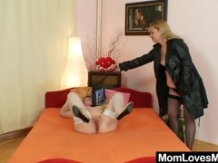 dilettante moms fucking each other with a sex-toy