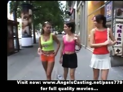 sporty youthful lesbos undressing and licking