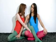 unshaved lesbos in nylon nylons loving