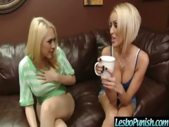 breasty lesbian babes acquires punished and dildo