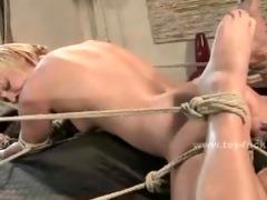 golden-haired slut masturbates with electric toys
