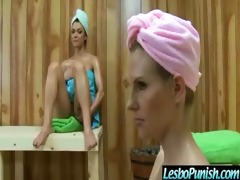busty lesbian babes gets punished and fake penis