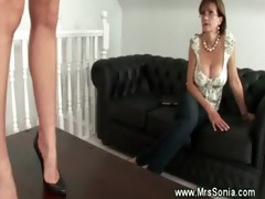 aged lesbo demands woman to use a toy