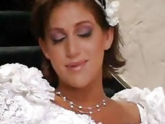 bride and her lesbo ally having sex with stud