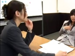 office lady seduced by lesbo during interview