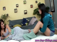 teen step sister enticed into giving a kiss