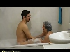 very old fat granny playing with pair in bathroom