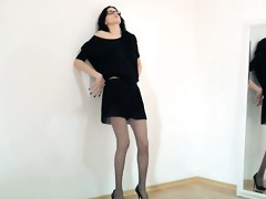 sexy 47yo beauty posing in front of mirorr