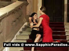 alluring brunette hair and blond lesbian babes