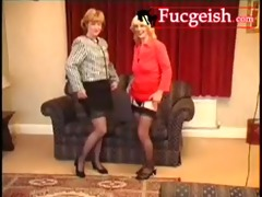 hot lesbos engage in three-some kinky behavior