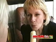 old lesbos eating banana and make foot worship