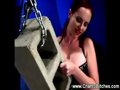 female-dominator sits on a bounded slaves face