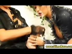nice-looking lesbos acquire bukkake in gloryhole