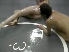 oil wrestling lesbian babes