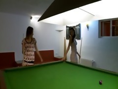 jaw-dropping lesbian babes in shoes on billiards
