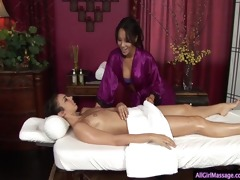 outstanding girl/girl massage with a cheerful