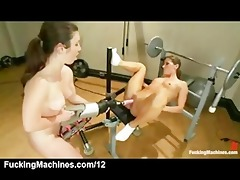 lesbian babes destroy fucking machines and cum in