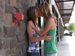 rilee and sara sweet lesbos giving a kiss and