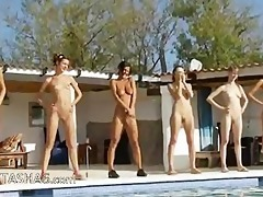 six naked beauties by the pool from germany