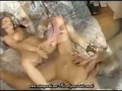 excited spanish lesbian babes take turns