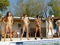six nude angels by the pool from usa