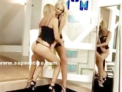 couple of blondes with hot butts disrobe and play
