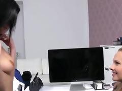 mmf agent engulfing boobs to brunette hair in