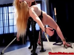 lezdom mistresses with miniature golden-haired sub