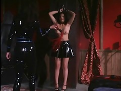 dominatrix in leather flogging randy wench