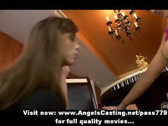 non-professional virginal blond and redhead lesbo