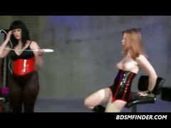 lezdom spank toy and electroplay